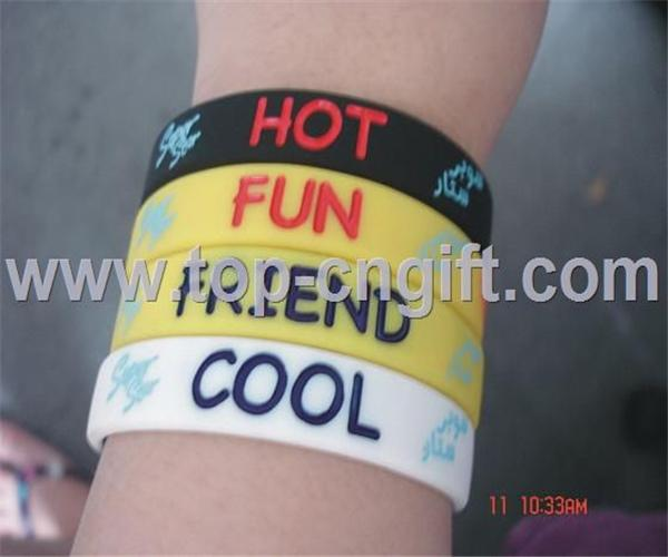 Silicone color filled wristband