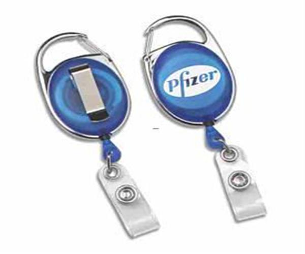 Carabiner retractable badge holder with traditiona