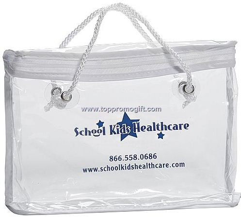 Clear Vinyl Zippered Tote Bag