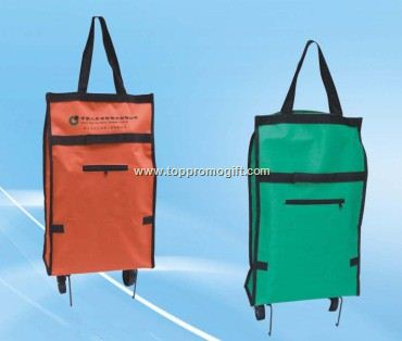 Folding shopping bags with wheels