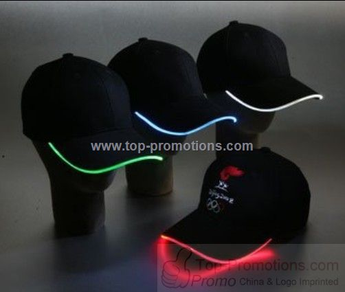 Khaki baseball hat with light up LED is s
