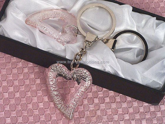 Art Deco Glass Heart Keychain Favors
