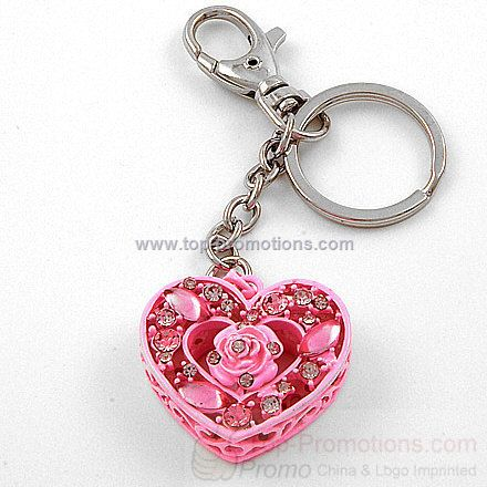 Pink Rose Heart Purse Charm
