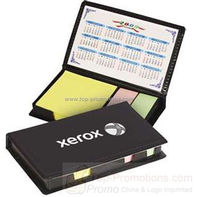 Compact leatherette sticky notes holder and flags
