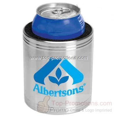 Stainless steel can cooler with non-skid bottom