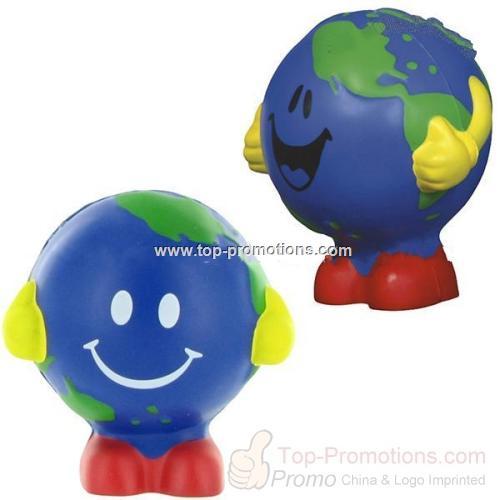 Smiley Face Earthball Man Stress Ball