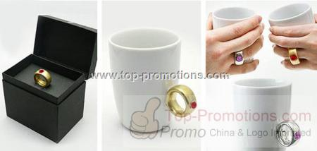 2 Carat Diamond Ring Ceramic Coffee Cup Gift For V