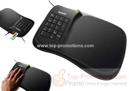 USB hub with mouse pad and numeric keypad