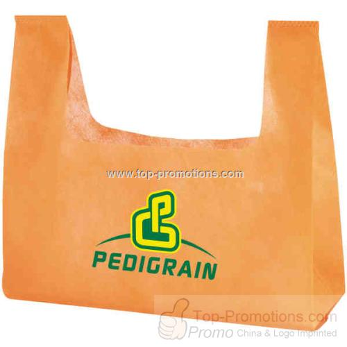Non woven polypropylene tote bag with cut out hand
