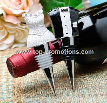 Bride and Groom Wine Bottle Stopper Set