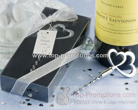 Wine Corkscrew with Heart Shaped Head for Wedding