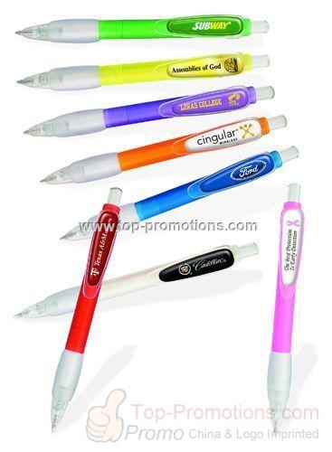 Plastic Ballpoint Pen with Rubber Grip and DOMED L