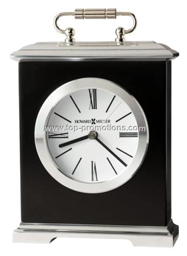 Black Glass arched tabletop alarm clock with Silve