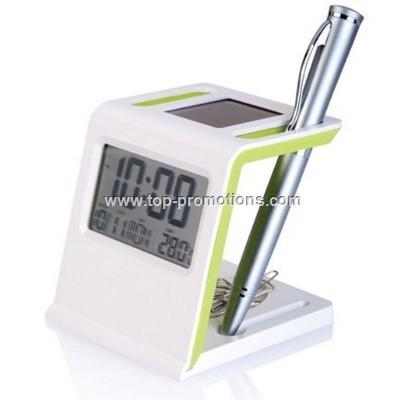 Desk Solar Clock with Pen Holder