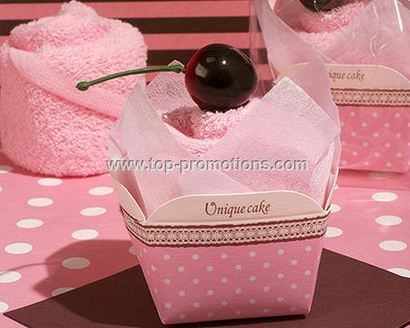 Sweet Treats Pink Cupcake Towel Favor