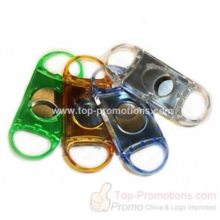 Transparent Color Double Guillotine Cigar Cutter