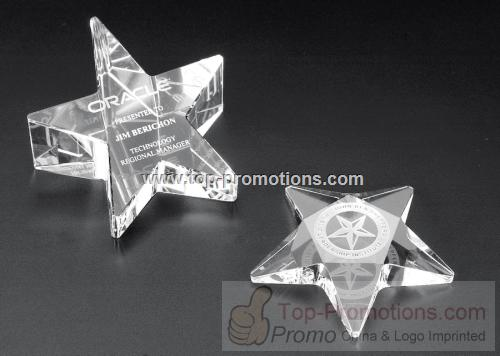 Slanted star optical crystal award