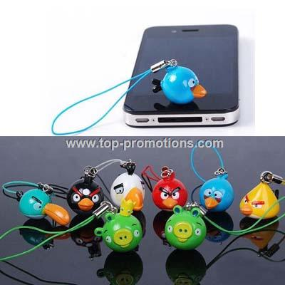 Red Angry Birds Cell Phone Charm