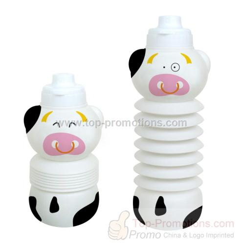 Flexible cow shaped water bottle
