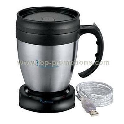 Desk Mug and USB Mug Warmer Set