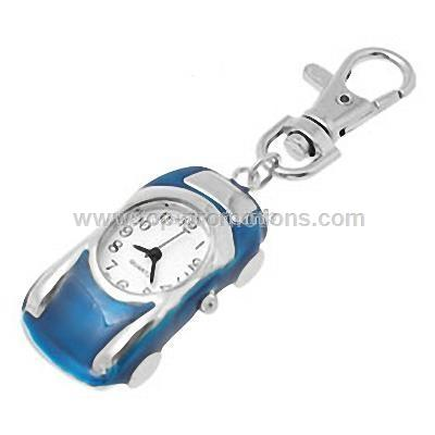 Red Roadster Quartz Pocket Watch with Key Chains