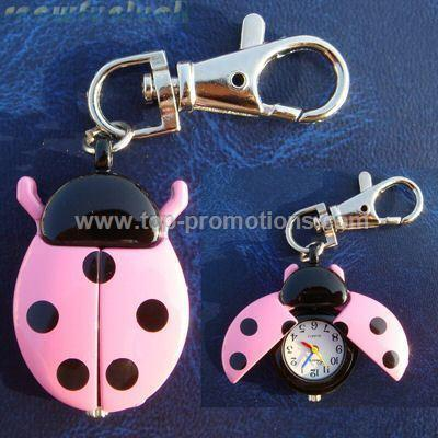 Ladybug key chain Pocket Watch Clock