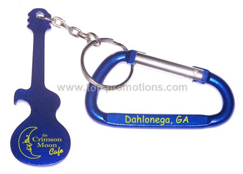 Guitar shaped aluminum bottle opener with key chai