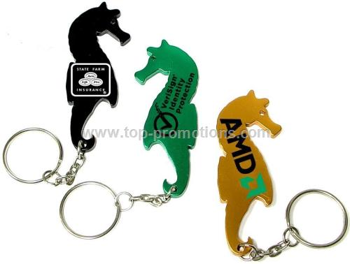 Sea horse shaped aluminum bottle opener with key c