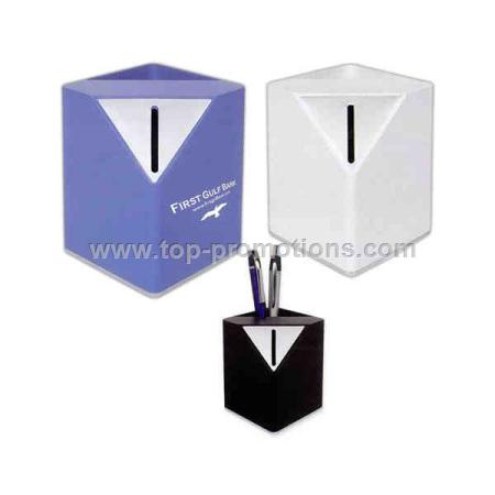 Cube Pen Holder With Coin Bank