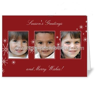 Modern Snowfall Crimson Holiday 5x7 folded card