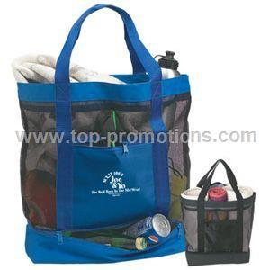 Large Mesh Tote with Kooler Bottom