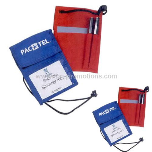 Polyester badge holder with card and pen holder