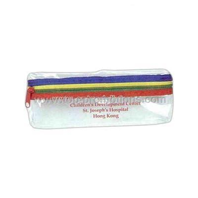 Vinyl Pencil case clear with multicolor trim