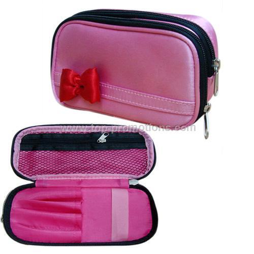 Satin material costmetic bag