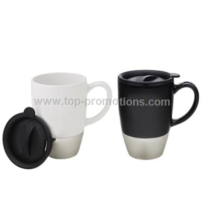 Ceramic mug with stainless steel bottom