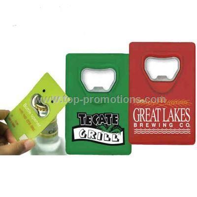 Credit card style bottle opener
