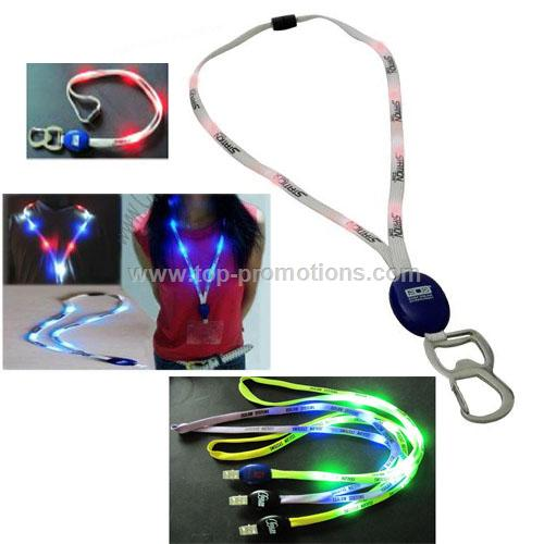 Flashing Light Lanyard with Bottle Opener