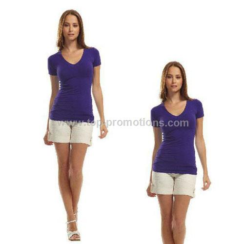 Ladies Deep V Bamboo Stretch T-Shirt