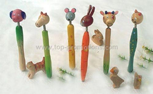 Wooden Cartoon Ball Point Pen