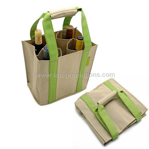100%Collapsible Wine Bottle Party Tote - Green