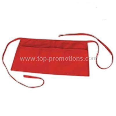 Poly-cotton waist cafe square apron with 3 divisio