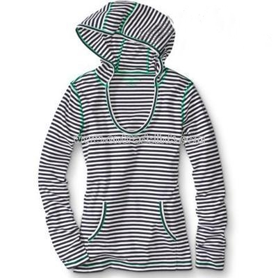 Striped Ribbed Pullover Hoodie