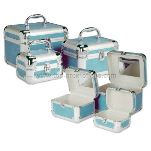 3 PC Aqua Makeup Case Set