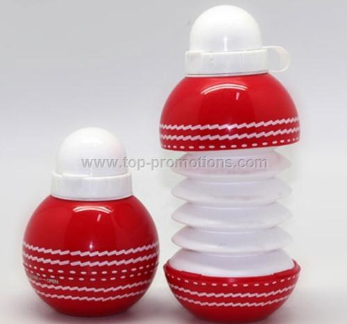 Collapsible cricket ball shape water bottle