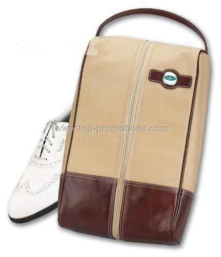 Leather Canvas Shoe Bag