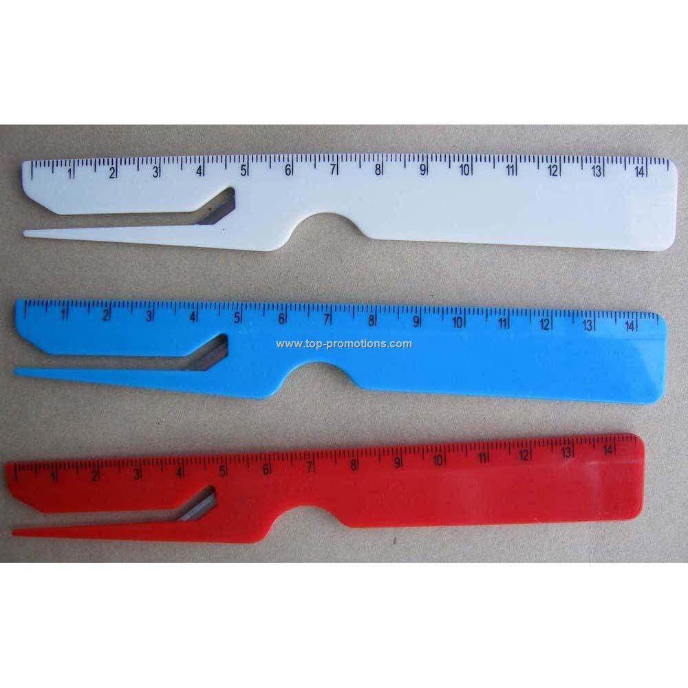 Plastic ruler letter opener