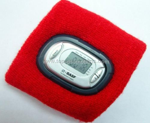 Terry cloth wristband with pedometer