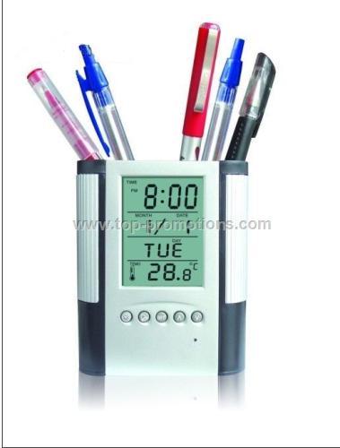Pen Holder w Photo Frame&clock