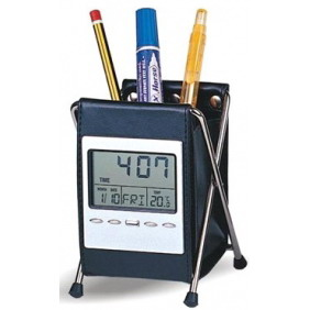 Leather pen holder with clock