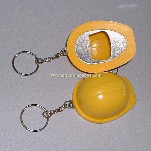 Bottle opener helmet keychain